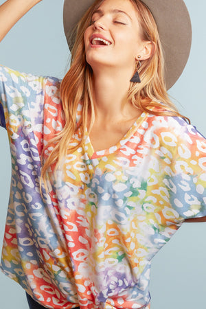 Animal Tie Dye Twist Blouse