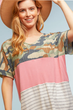 Camo & Stripe Color Block Blouse