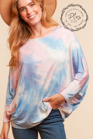 Plus Blue & Pink Dolman Blouse