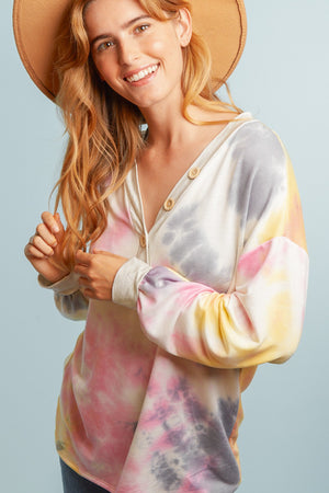 Tie Dye French Terry Button Sweater