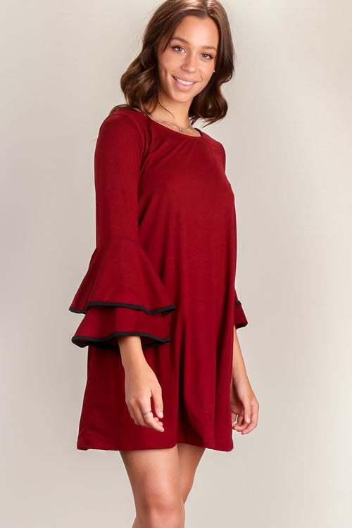 Wine Binding Bell Sleeve Dress