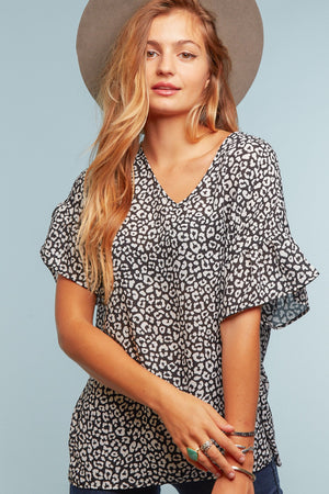 Black Animal Print Bell Sleeve Blouse