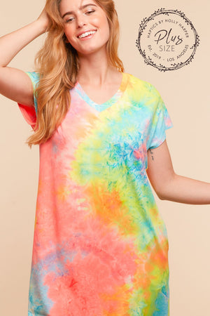 Plus Neon Tie Dye Pocketed Dress
