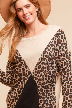 Plus Leopard Color Block Design Blouse