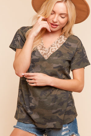 Thermal Camo Animal Trim Blouse