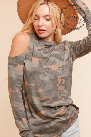 Plus Camo Off Shoulder Design Blouse