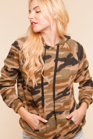 Camo Brushed Waffle Pocketed Hoodie