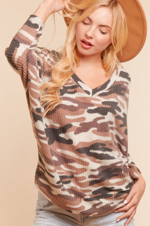 Camo Thermal Dolman Blouse