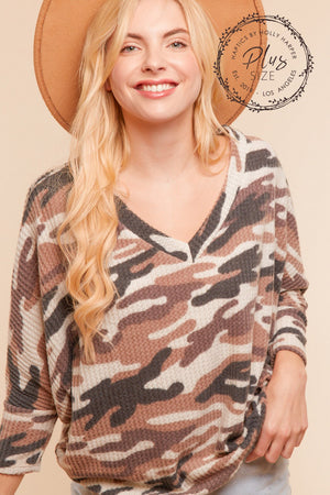 Plus Camo Thermal Dolman Blouse