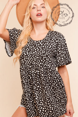 Plus Black Leopard Babydoll Blouse