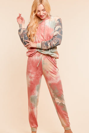 Plus Tie Dye Camo Pocketed Joggers