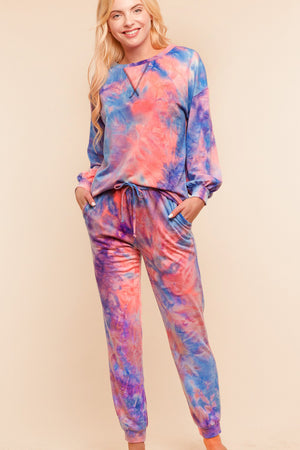 Plus Blue & Pink Tie Dye Pants
