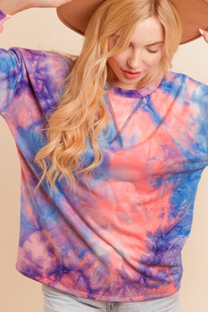 Plus Blue & Pink Tie Dye Sweater