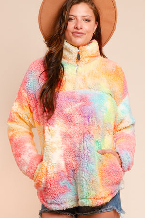 Multi Tie Dye Sherpa Flee Zip Up
