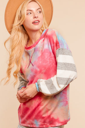 Multi Tie Dye Stripe French Terry Sweater