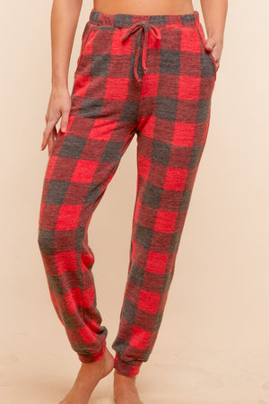 Black & Red Plaid Hacci Plaid Jogger