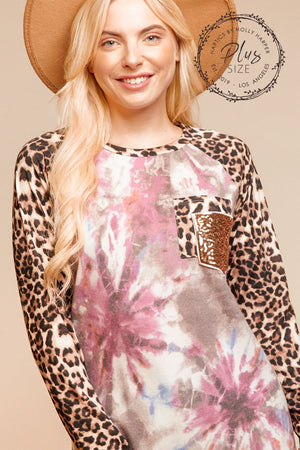 Plus Tie Dye Animal Sequin Patch Blouse