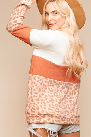 Plus Ivory & Rust Animal Print Color Block Blouse