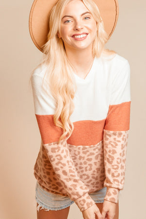 Ivory & Rust Animal Print Color Block Blouse