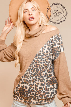 Plus Taupe Color Block Cut Out Animal Print Blouse
