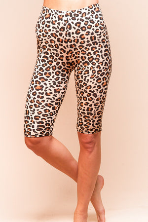 Plus Taupe Animal Print Biker Short Leggings