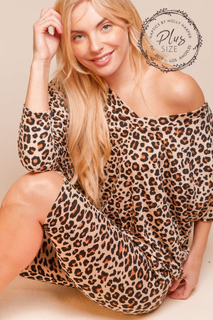 Plus Taupe Animal Print V-neck Dolman Blouse