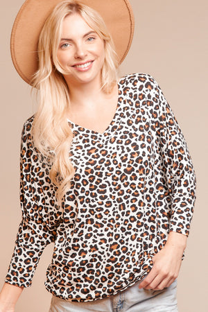 Plus Ivory Animal Print Dolman Blouse