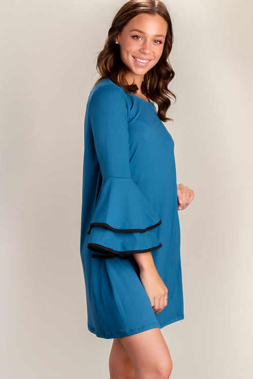 Blue Binding Bell Sleeve Dress