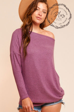 Plus Dusty Violet Two Tone Hacci Slouchy Dolman Top