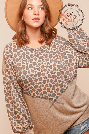 Plus Taupe & Oatmeal Reverse Stitch Color Block Blouse
