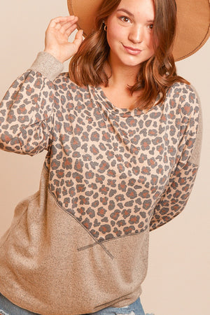 Taupe & Oatmeal Reverse Stitch Color Block Blouse