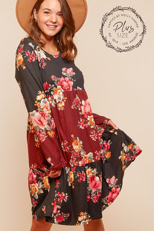 Plus Black & Burgundy Tiered Floral Color Block Dress