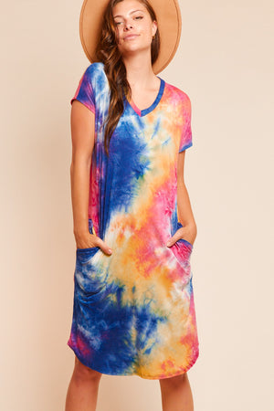 Multi Tie Dye Pocketed Dress