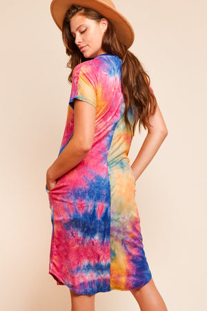 Plus Multi Tie Dye Pocketed Dress