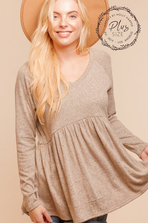 Plus Oatmeal Grey Babydoll Raglan Blouse