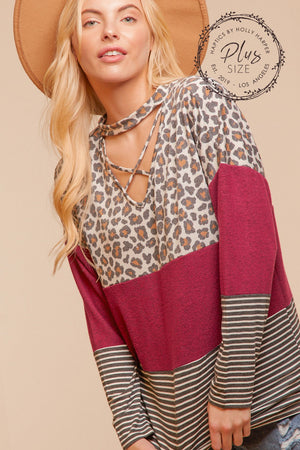 Plus Animal Maroon Panel Color Block Blouse