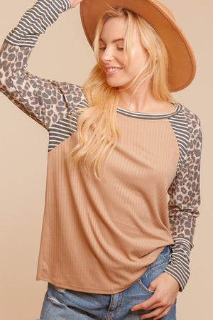 Taupe Stripe Color Block Raglan Blouse