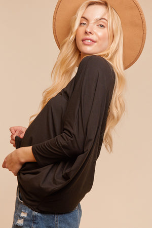 Plus Black Round Neck Dolman Sleeve Blouse