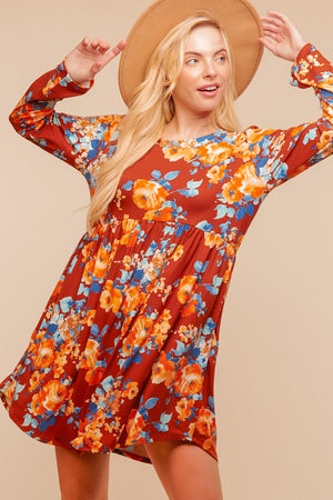 Rust Floral Pocketed Dress