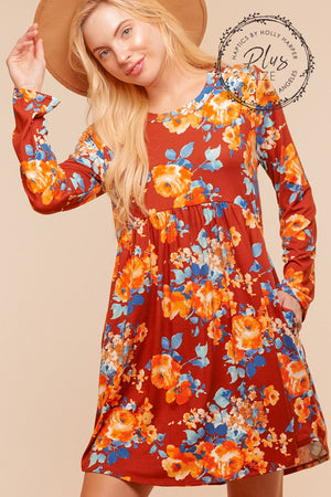 Plus Rust Floral Pocketed Dress