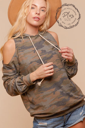 Plus Olive Camo Cold Shoulder Hoodie