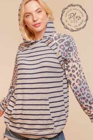 Plus Heather Grey Navy & Lavender Animal Print Stripe Button Raglan Hoodie