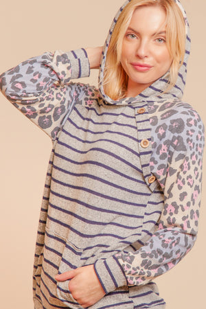 Heather Grey Navy & Lavender Animal Print Stripe Button Raglan Hoodie