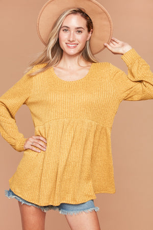Butterscotch Hacci Rib Babydoll Bubble Sleeve Blouse