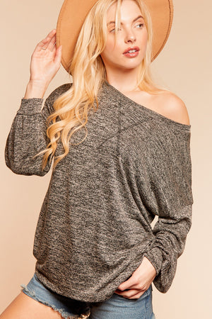 Charcoal Two Tone Hacci Long Sleeve Blouse