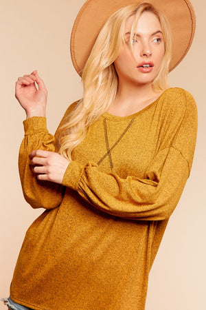 Butterscotch Two Tone Hacci Long Sleeve Blouse