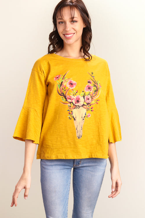 Mustard Bull Head Floral Bell Sleeve Top
