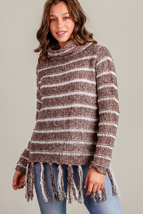 Brown Stripe Fringe Thick Sweater