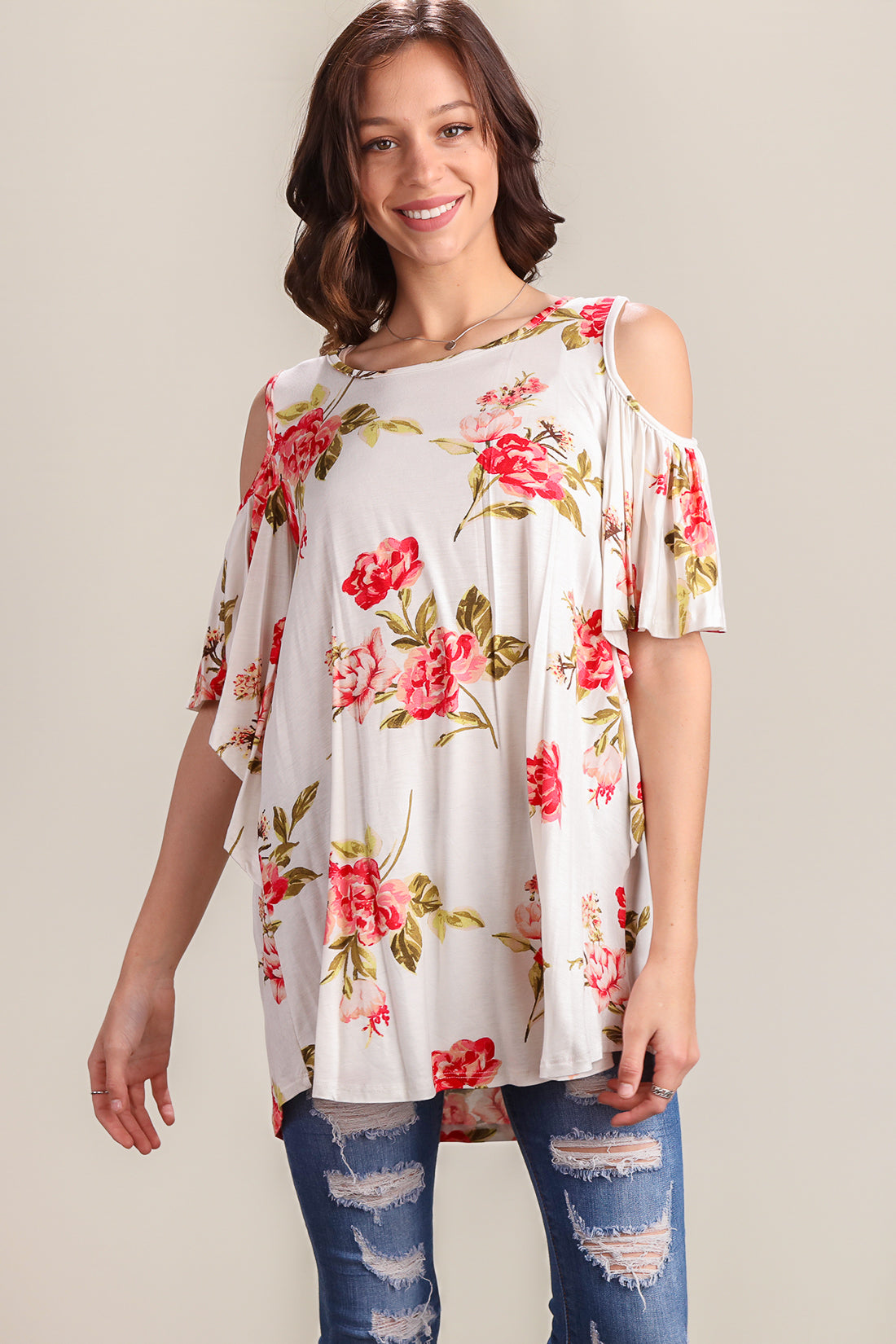 Ivory Floral Cold Shoulder Tunic