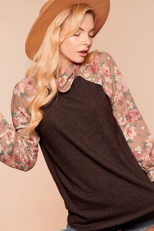 Black & Taupe Floral Turtleneck Raglan Blouse